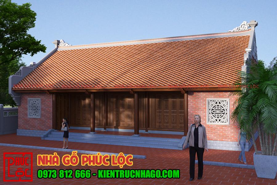nhà 5 gian 2 chái sử dụng gạch xây không trát