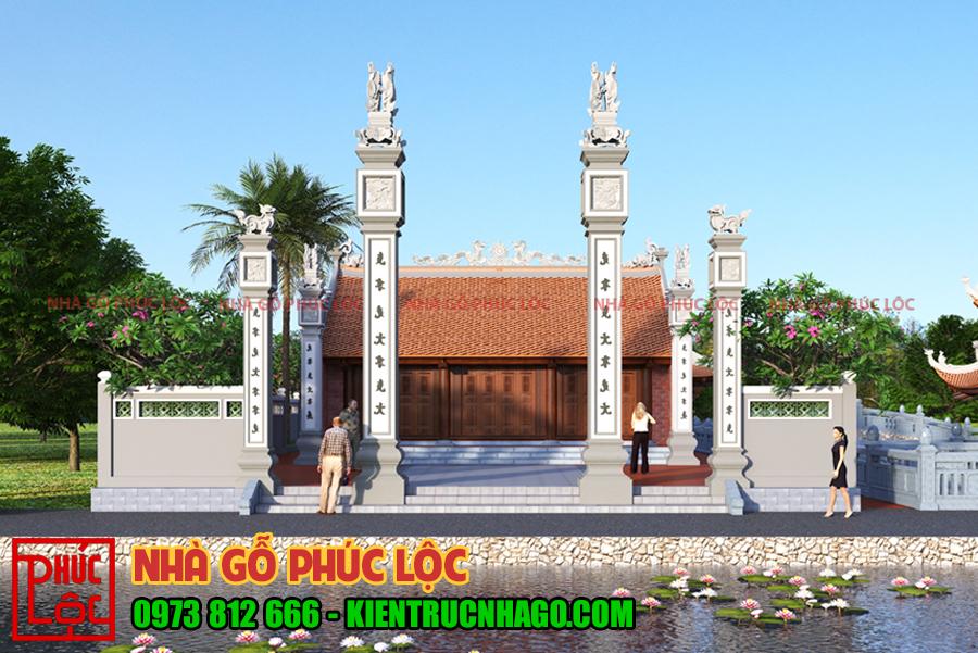 Phía trước cổng có 4 cột đồng trụ