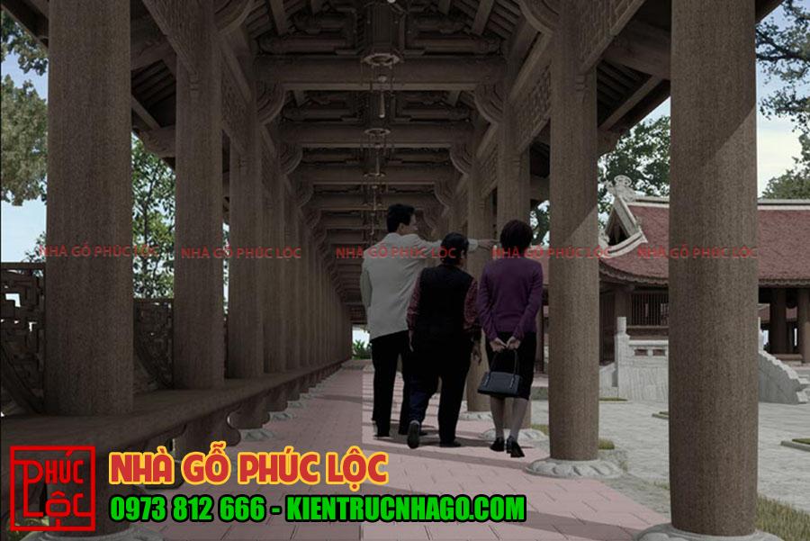 Hành lang được làm mái chạy dọc nối các khu nhà với nhau