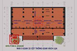 Mặt bằng Nhà gỗ 5 gian 32 cột thông gian vách lụa
