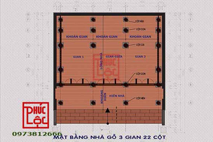Mặt bằng Nhà gỗ 3 gian 22 cột
