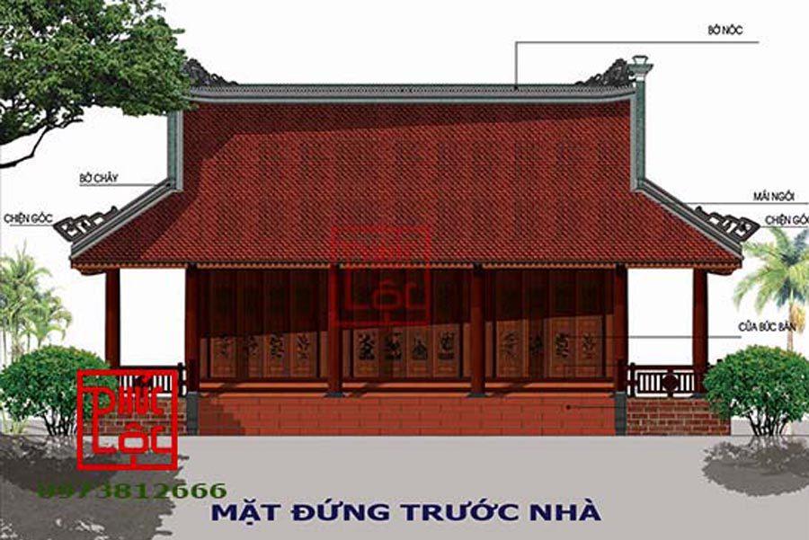 Nhà gõ 3 gian 4 mái hiên quanh nhà