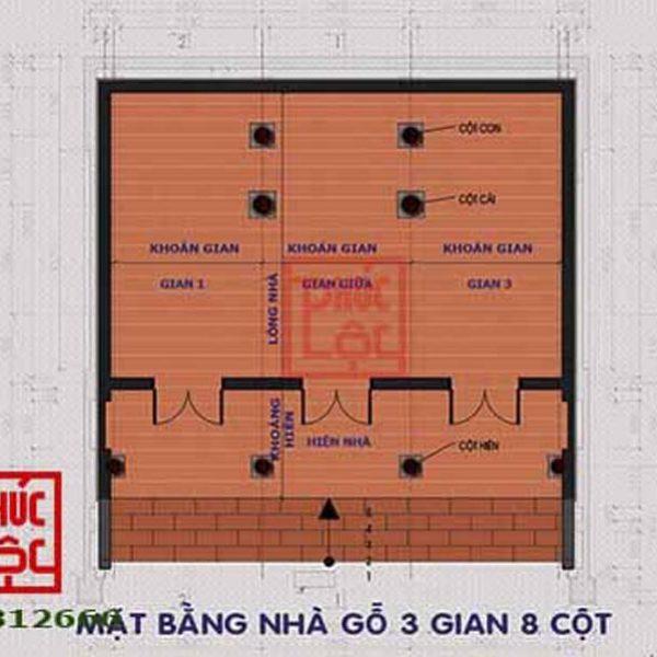 Mặt bằng nhà 3 gian có 8 cột