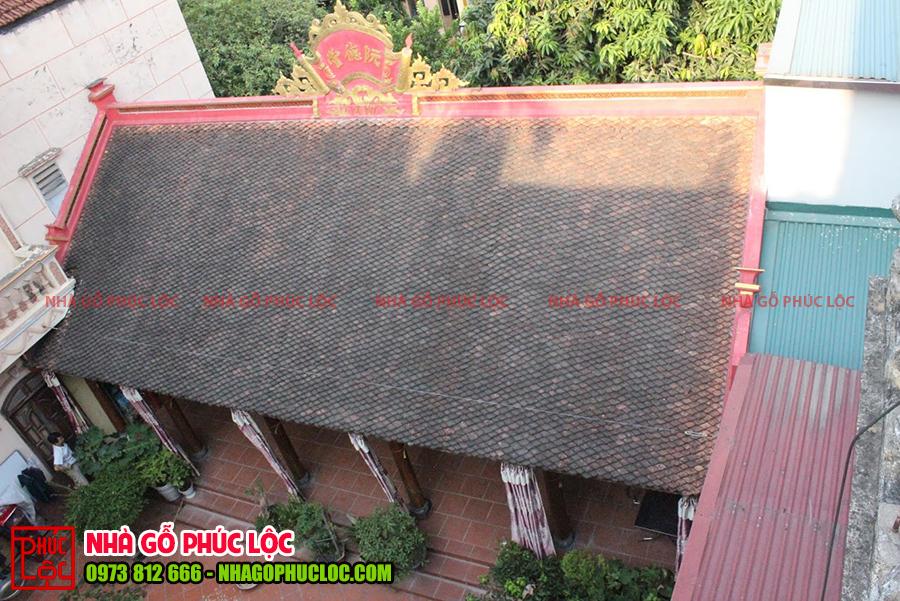 Tổng thể nhìn từ trên cao nhà gỗ 5 gian cổ truyền