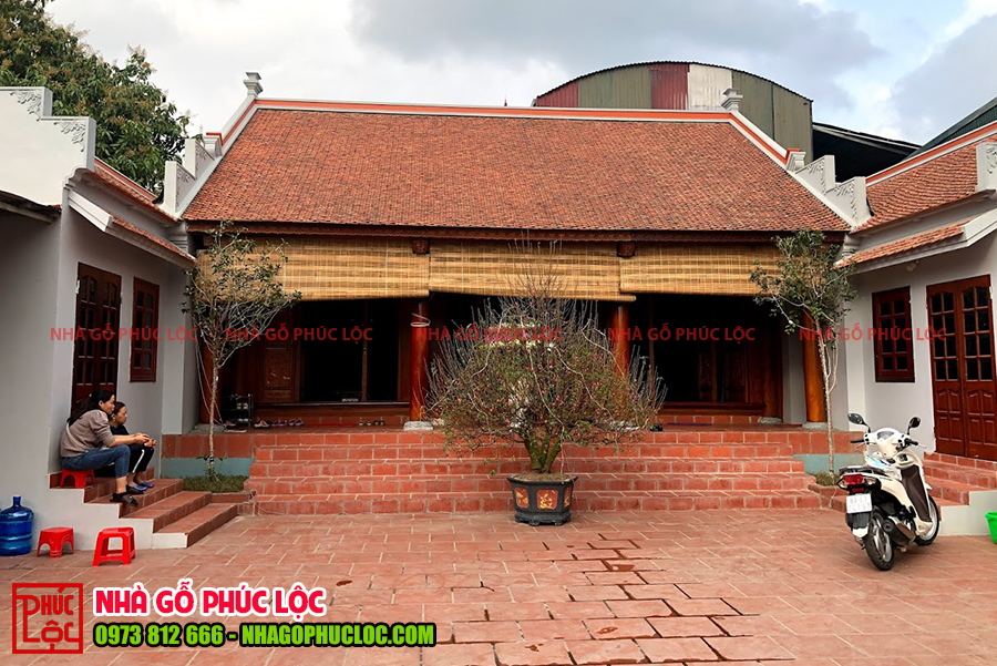 Tổng thể căn nhà gỗ mít 3 gian cổ truyền