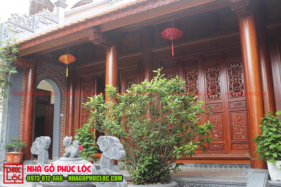 Tổng thể căn nhà gỗ cổ truyền 3 gian tại Hưng Yên