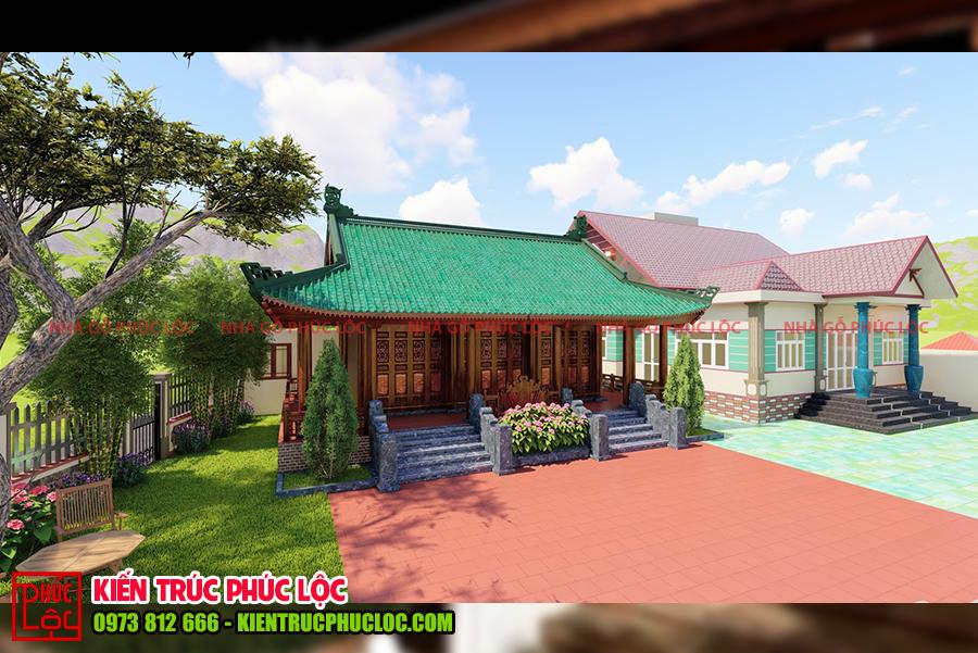 Toàn cảnh ngôi nhà gỗ 3 gian 4 mái và nhà hiện đại
