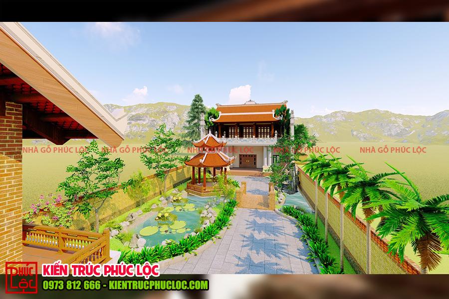 Tổng thể mẫu thiết kế nhà gỗ 5 gian cổ truyền
