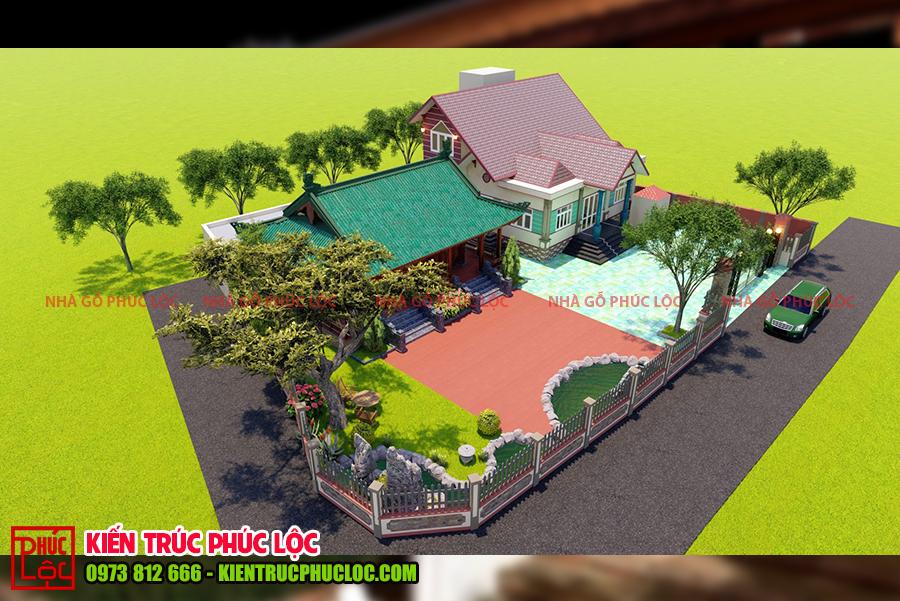 Tổng thể căn nhà được nhìn từ trên cao