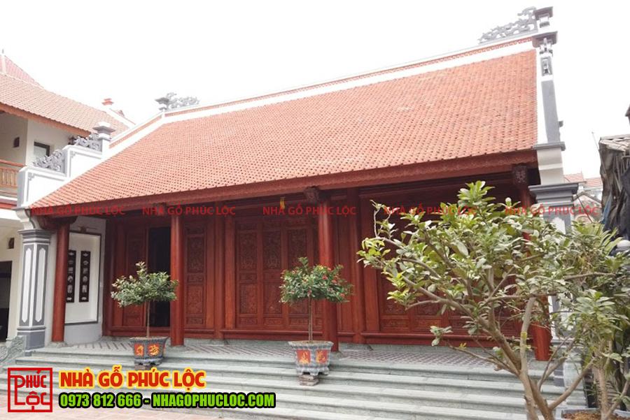 Tổng thể công trình nhà gỗ lim 3 gian