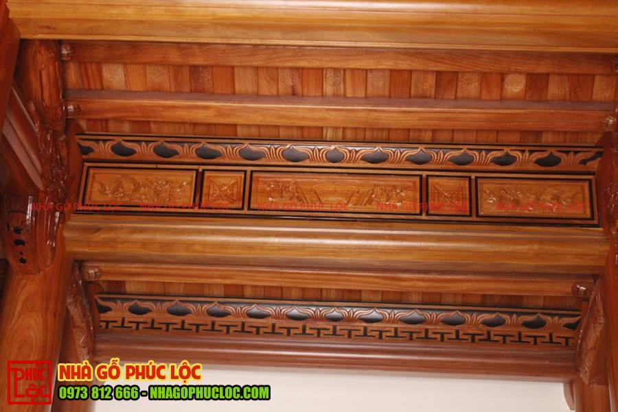 Phần khung song ô thoáng nhà gỗ gõ 3 gian