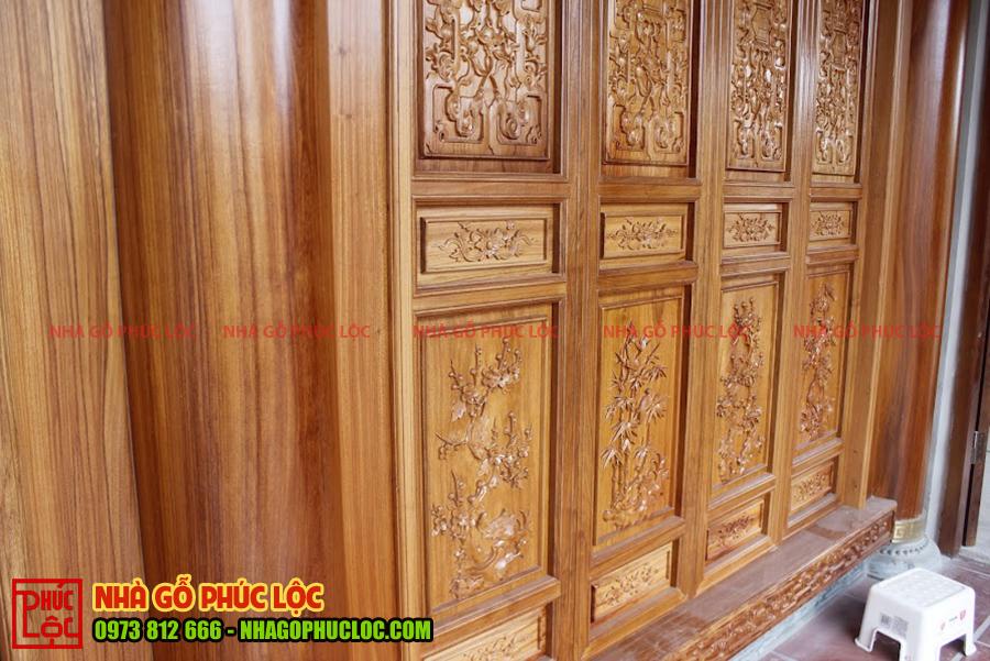 Cửa bức bàn nhà gỗ gõ